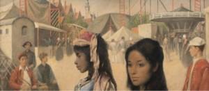 Detail Kermis in Veere door Karel van Veen